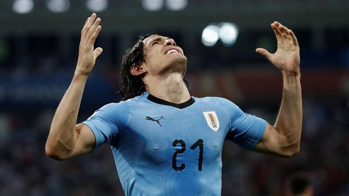 Uruguay's Edinson Cavani celebrates scoring their second goal. (Reuters)