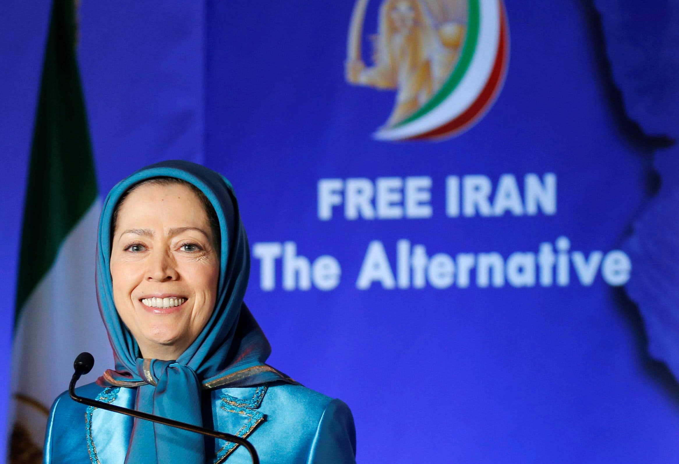 Maryam Rajavi delivers a speech during their gathering in Villepinte on June 30, 2018. (Reuters)