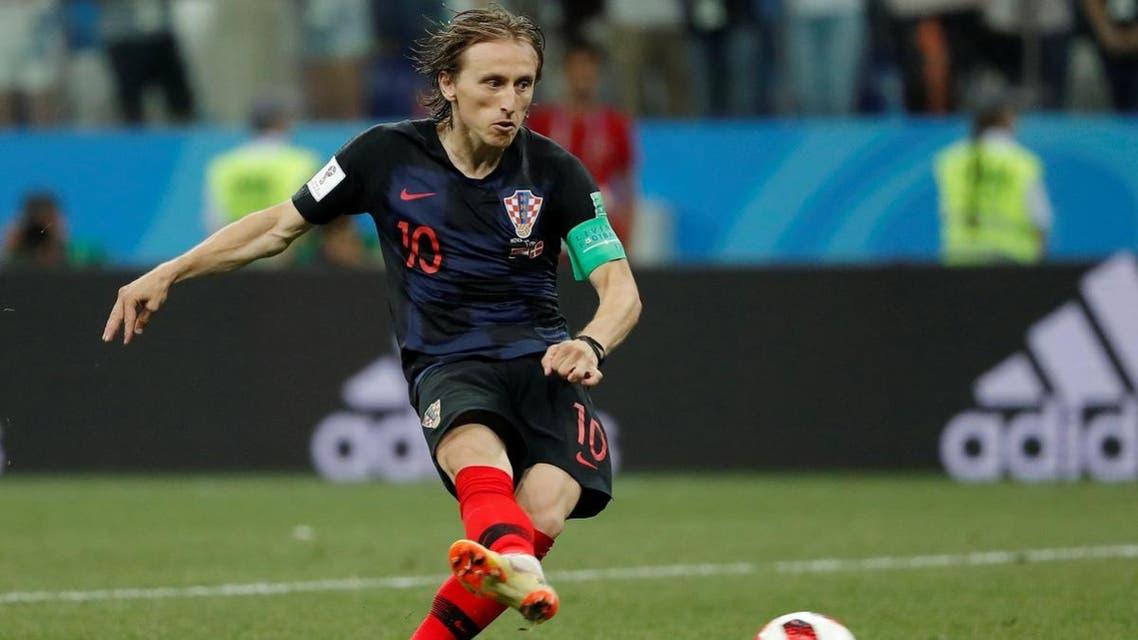 Croatia's Luka Modric scores a penalty during the shootout. (Reuters)