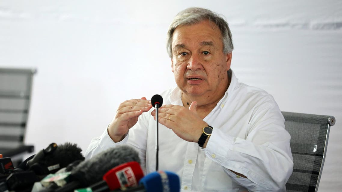 U.N. Secretary General Antonio Guterres attends a press briefing at the Kutupalong refugee camp in Cox's Bazar, Bangladesh, July 2, 2018. REUTERS
