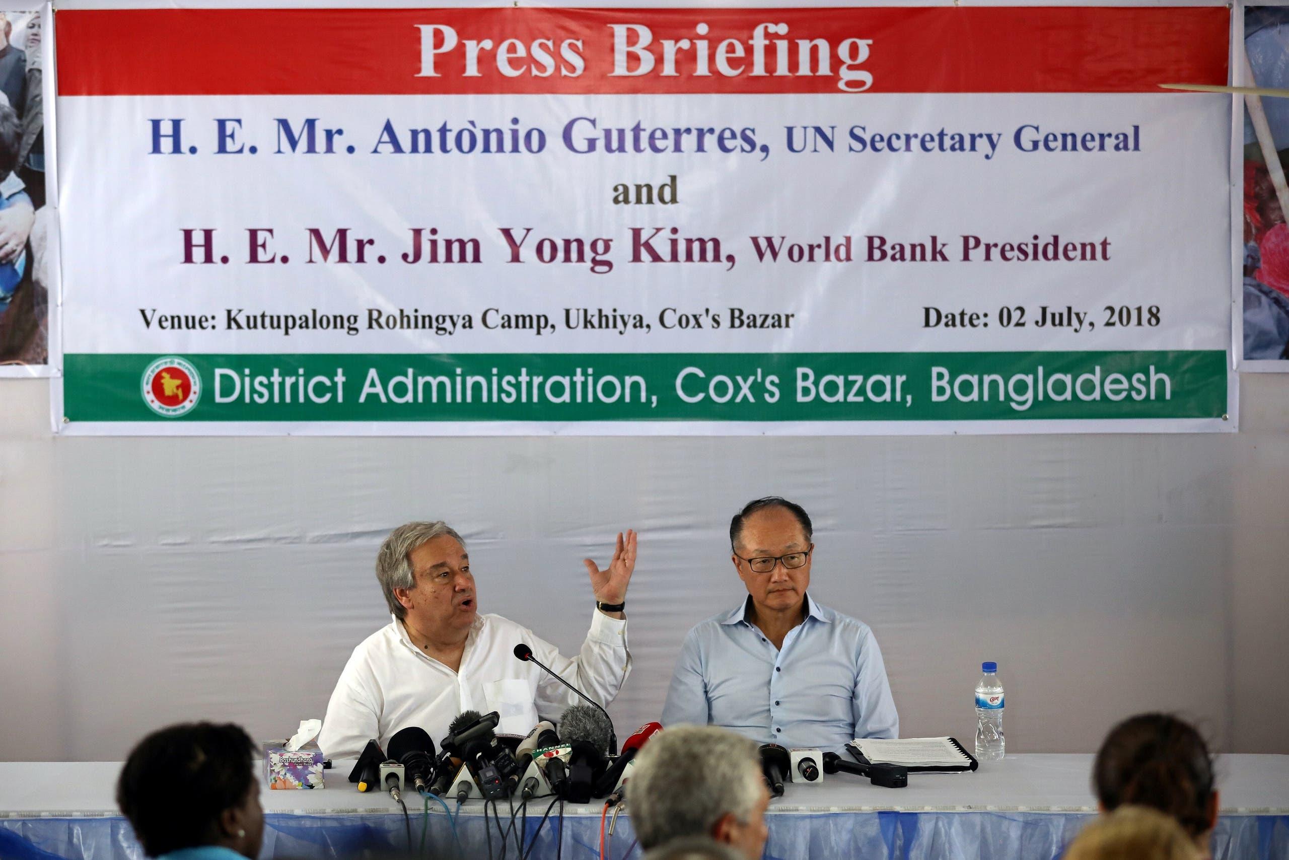 U.N. Secretary General Antonio Guterres and World Bank president Jim Yong Kim attend a press briefing at the Kutupalong refugee camp in Cox's Bazar, Bangladesh, July 2, 2018. REUTERS