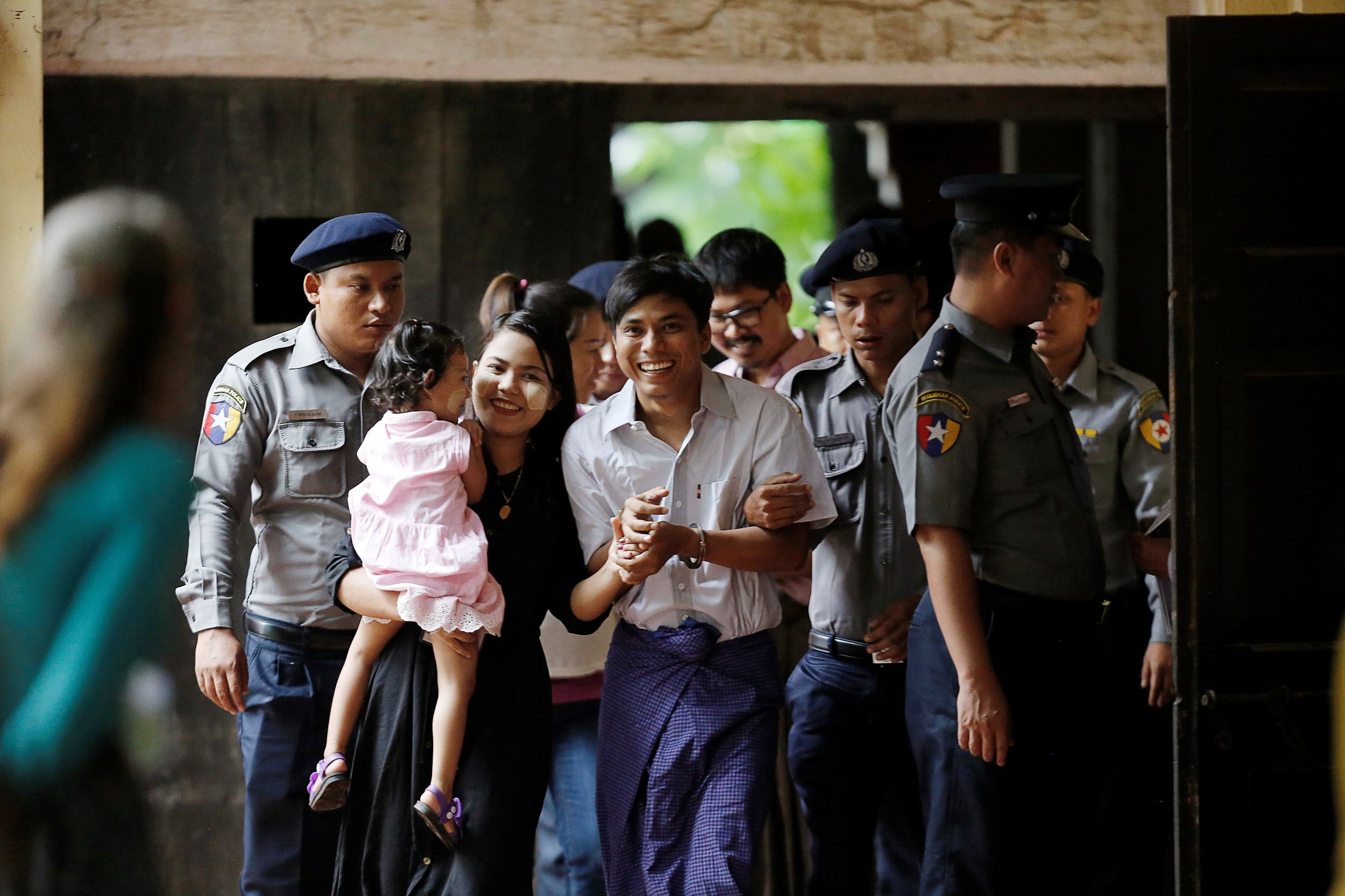 Detained Reuters journalist Kyaw Soe Oo arrives at Insein court in Yangon, Myanmar July 2, 2018. REUTERS