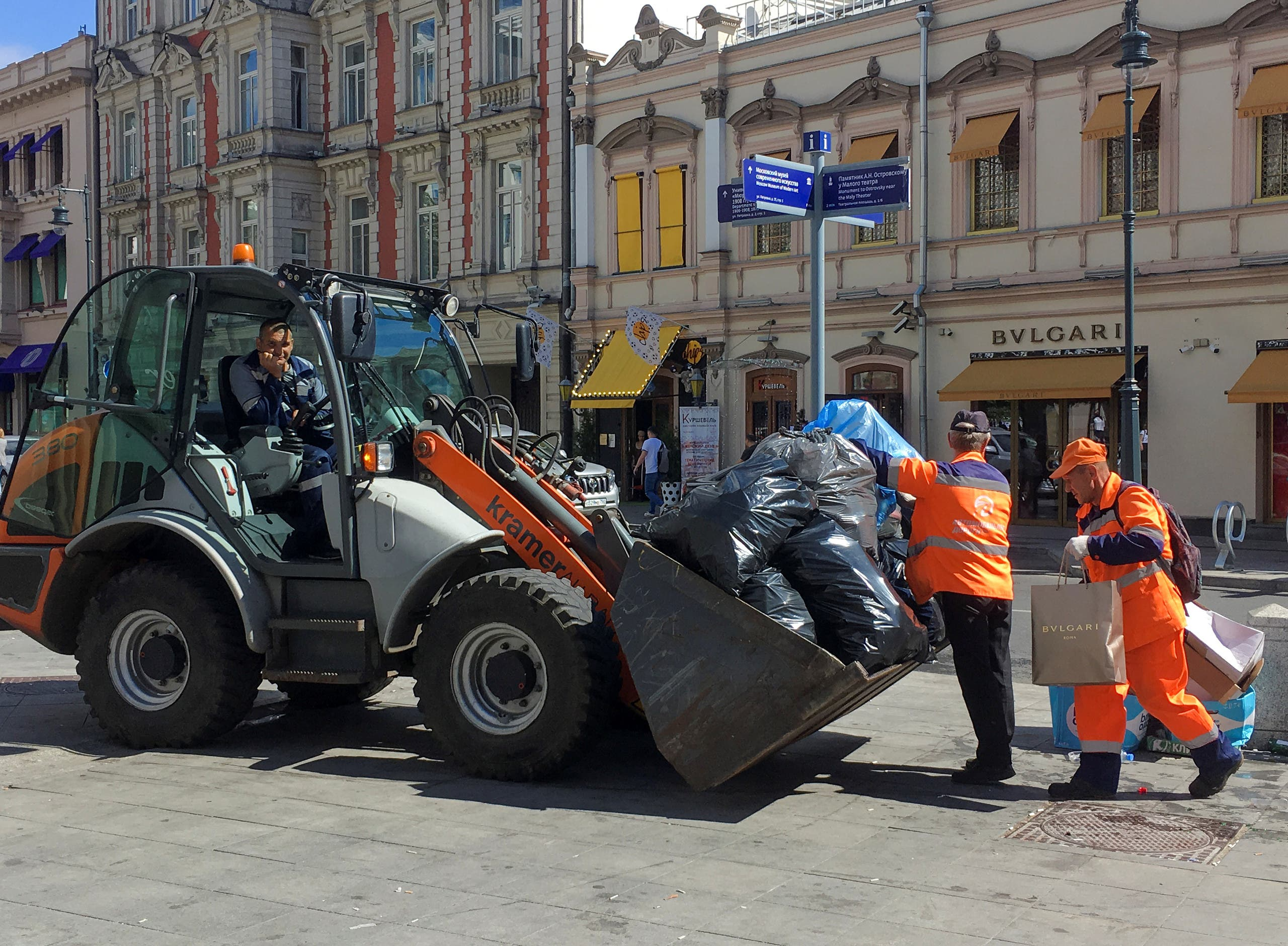 Russia clean up after celebrations. (Reuters)