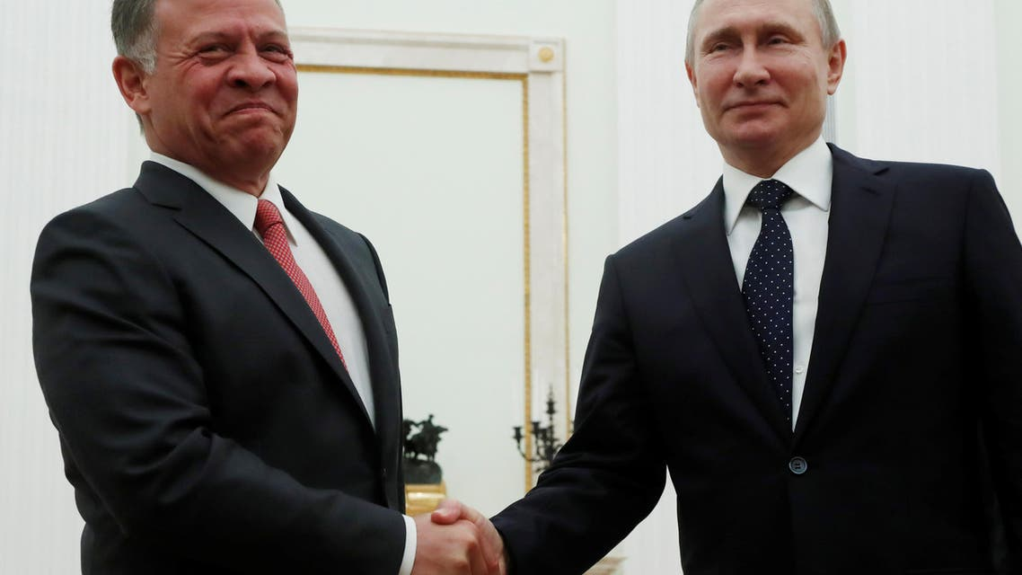 Russian President Vladimir Putin shakes hands with King Abdullah of Jordan during their meeting at the Kremlin in Moscow, Russia February 15, 2018. REUTERS