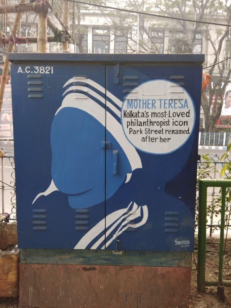 Mother Teresa, Calcutta's guardian angel, adorns a box on Park Street. (Supplied)