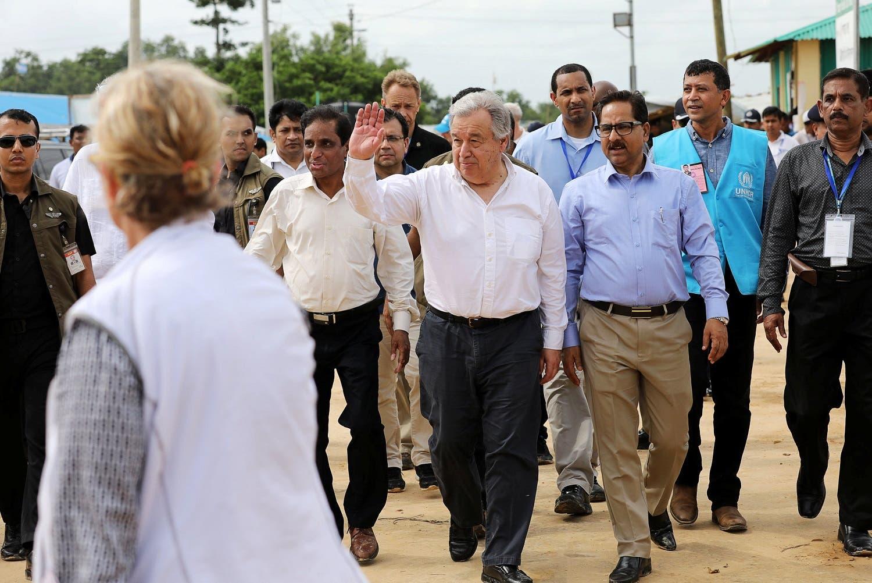 U.N. Secretary General Antonio Guterres visits the Kutupalong refugee camp in Cox's Bazar, Bangladesh, July 2, 2018. REUTERS