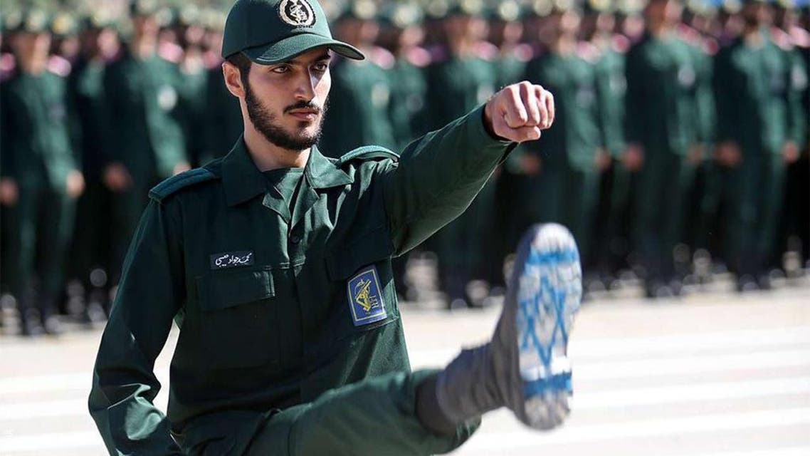 Iranian graduate from military college with Israeli flag painted on boot. (Supplied)