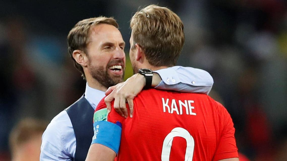 England manager Gareth Southgate celebrates with Harry Kane after the penalty shootout. (Reuters)
