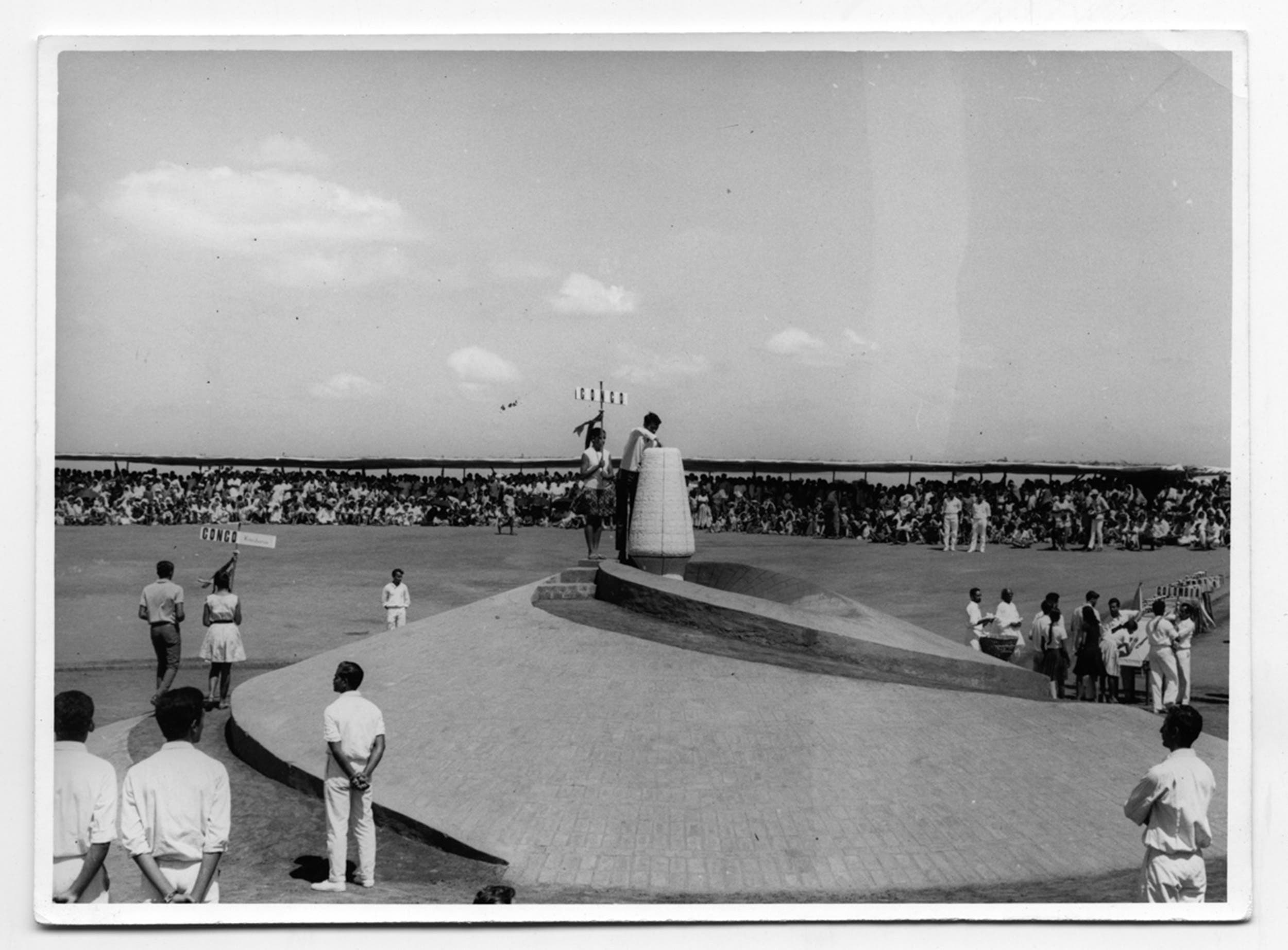 The foundation stone laying ceremony for Auroville on February 28, 1968. (Supplied)