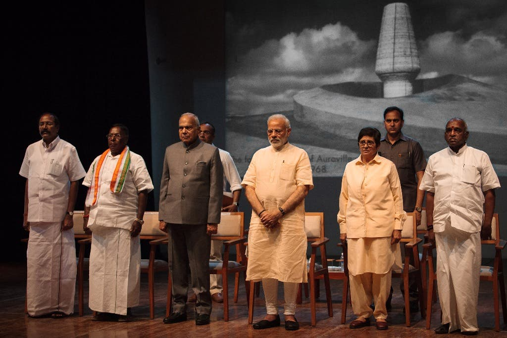 Indian prime Minister at the golden jubilee celebrations of Auroville in the Sri Aurobindo Auditorium in Bharat Nivas, Auroville in February 2018. (Supplied)