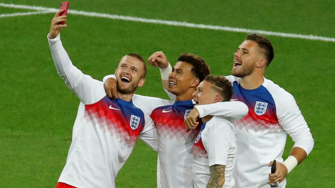 England's Eric Dier, Dele Alli, Kieran Trippier and Jack Butland take a selfie after the match in Spartak Stadium, Moscow, on July 3, 2018. (Reuters)