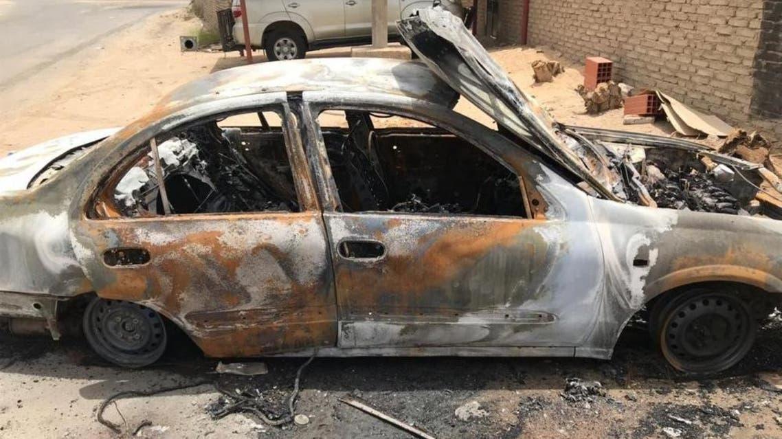 سيارة محترقة في مكة