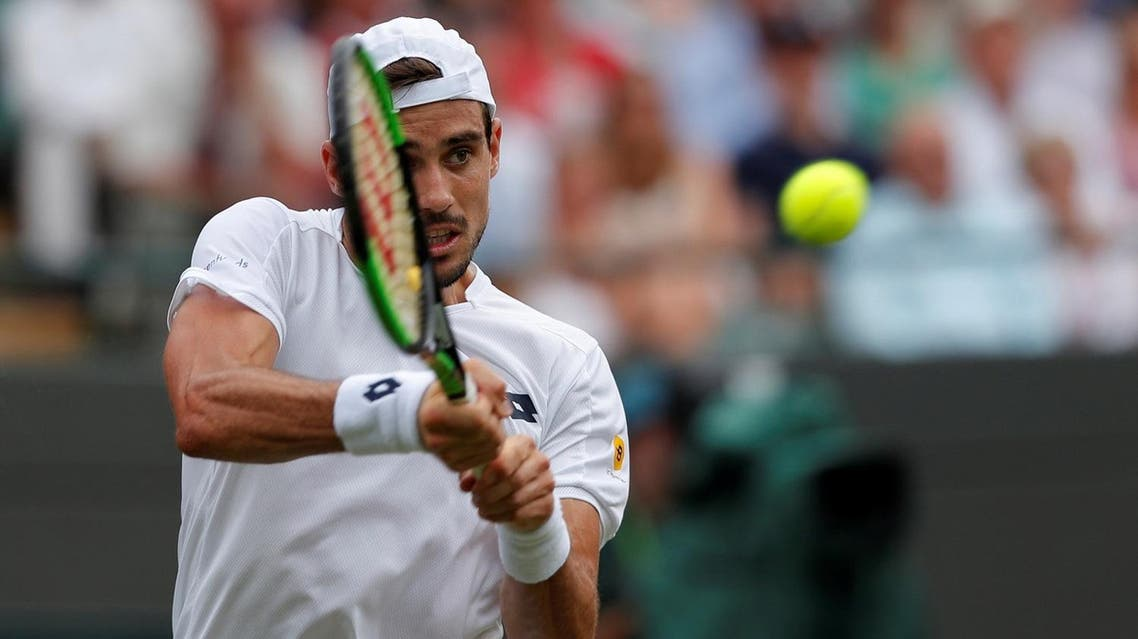 Argentina's Guido Pella in action during the second round match against Croatia's Marin Cilic. (Reuters)