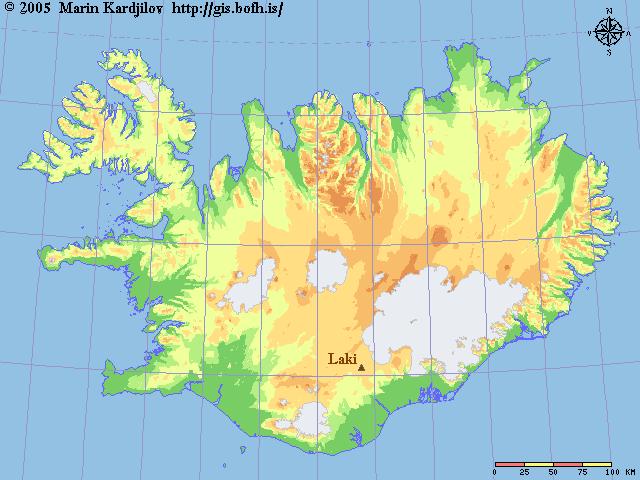 صورة لموقع بركان لاكي على خريطة أيسلندا