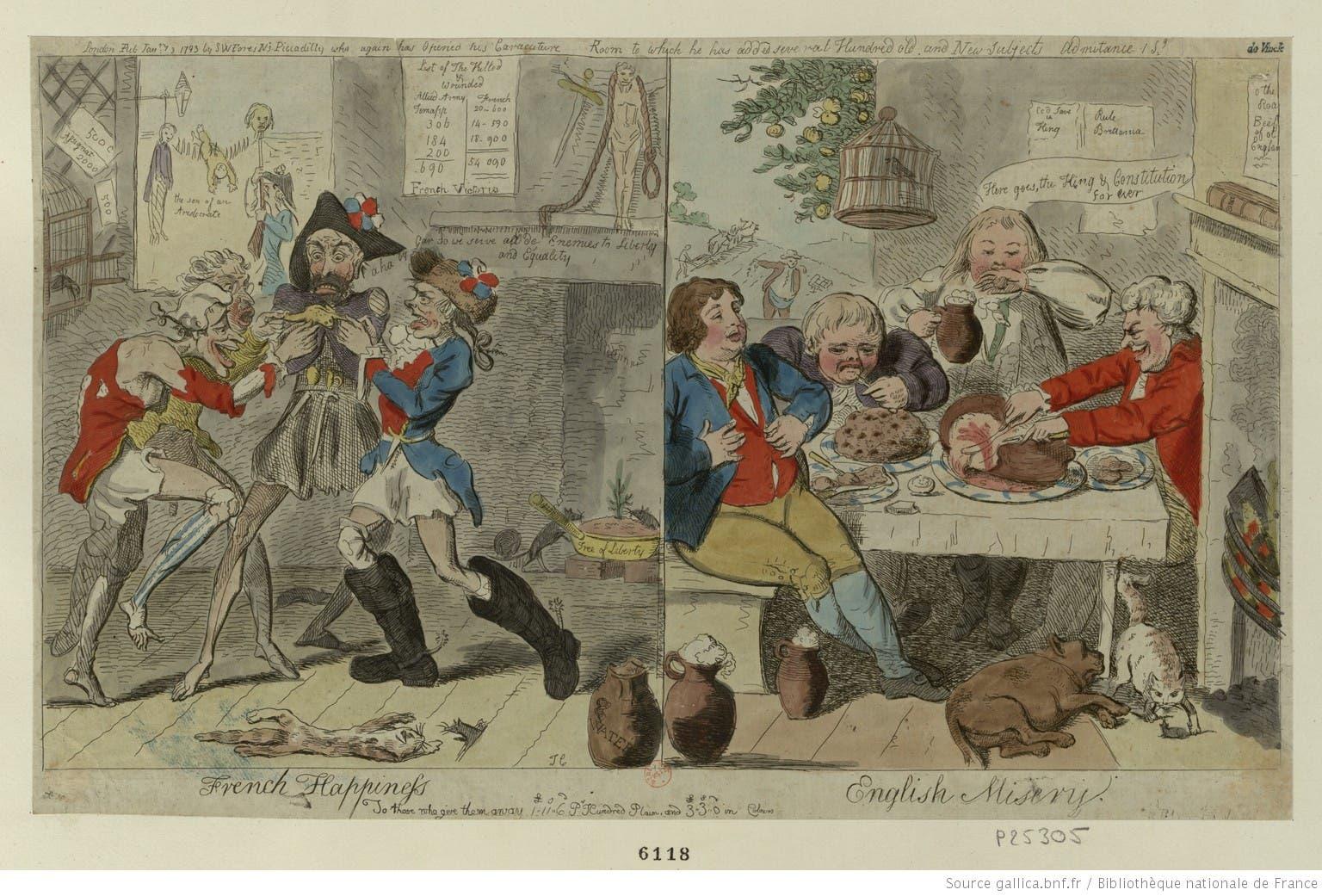 رسم كاريكاتيري ساخر حول معاناة الفرنسيين من المجاعة قبل الثورة