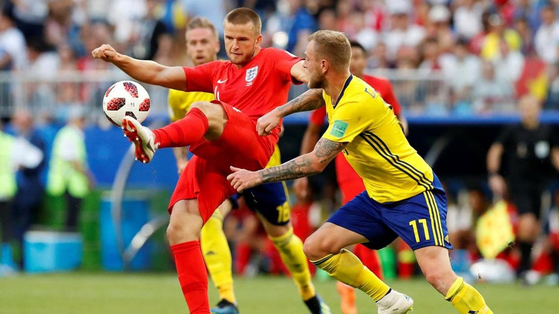 England's Eric Dier in action with Sweden's John Guidetti. (Reuters)