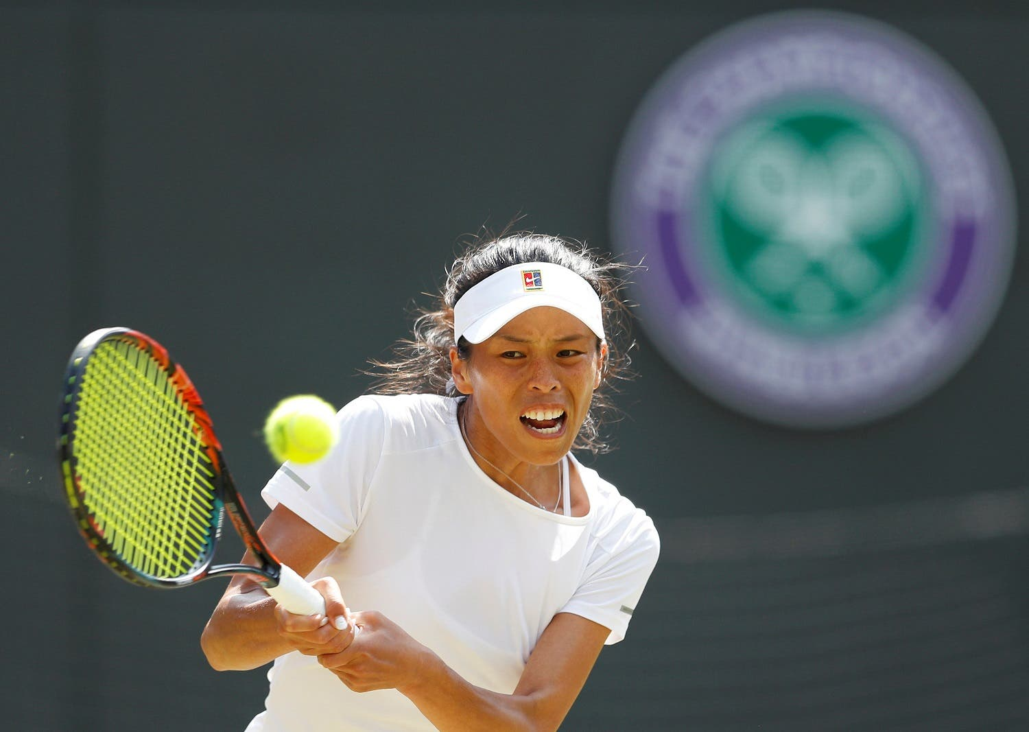 Taiwan's Su-Wei Hsieh in action during the third round match against Romania's Simona Halep. (Reuters)