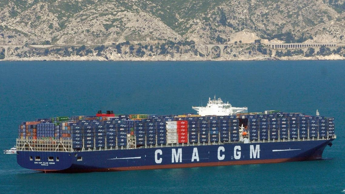 """File photo of """"Jules Verne"""" of CMA CGM group, a French container transportation and shipping company, sails off the Marseille harbour, southern France. (AP)"""
