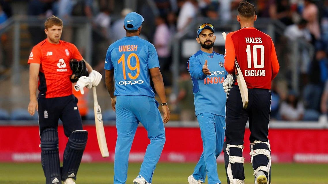 India captain Virat Kohli shakes hands with England's Alex Hales after the Twenty20 match on July 6, 2018 at Cardiff, England. (Reuters)