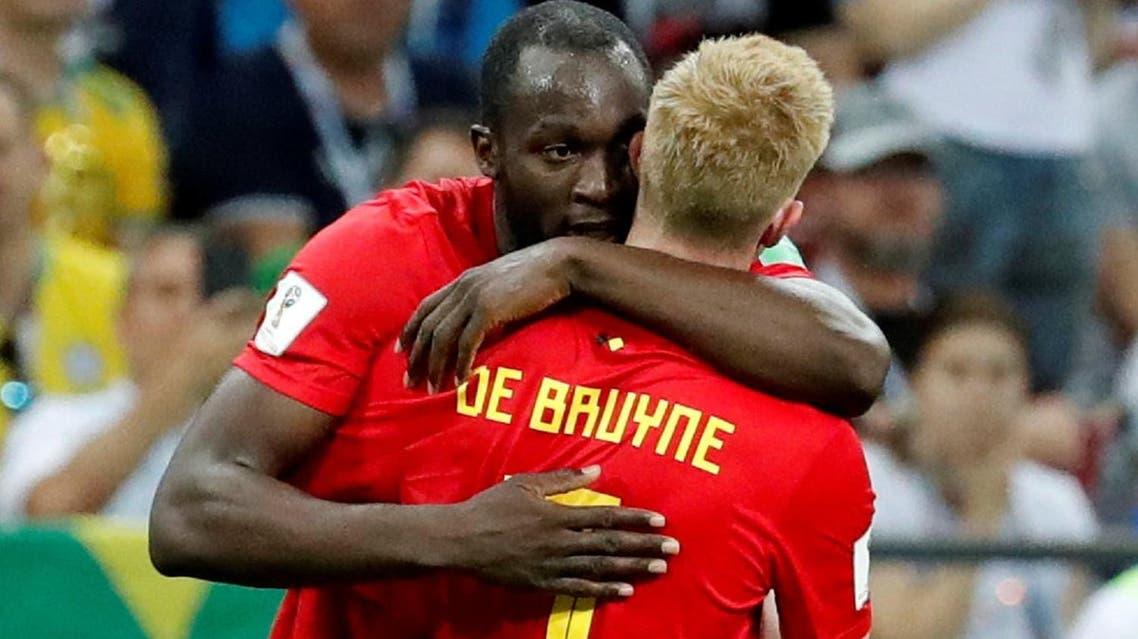 Belgium's Kevin De Bruyne celebrates scoring their second goal with Romelu Lukaku. (Reuters)