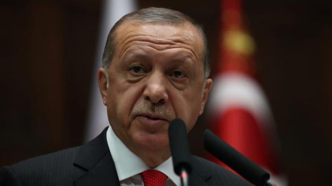 الرئيس التركي رجب طيب أردوغان في البرلمان
