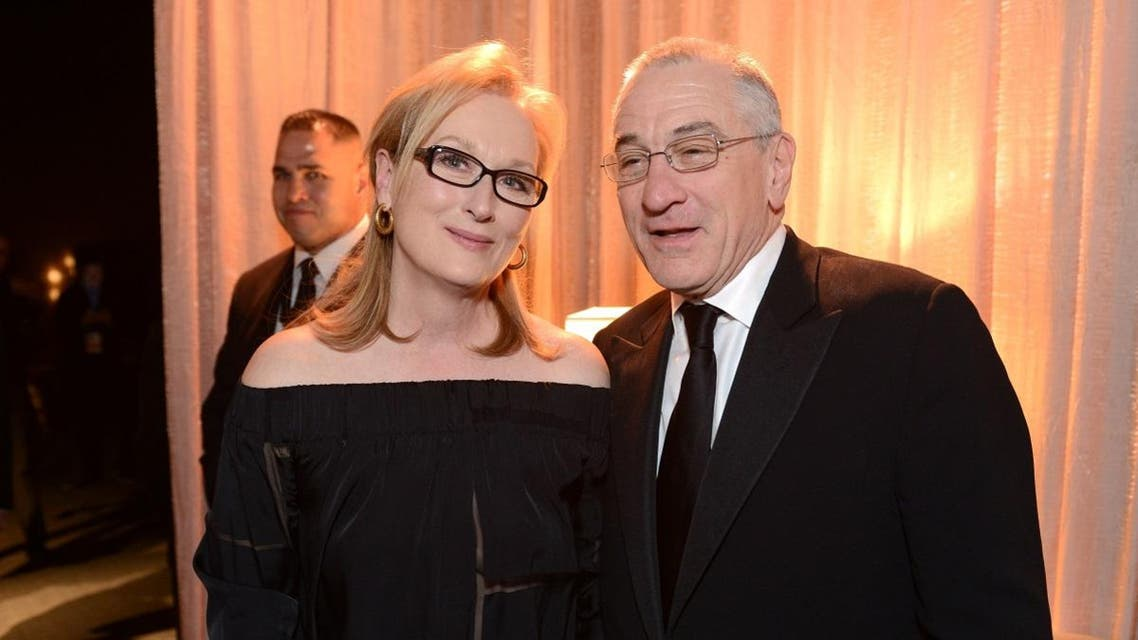 Meryl Streep and Robert De Niro pose in the green room at the 20th annual Screen Actors Guild Awards at the Shrine Auditorium. (AP)
