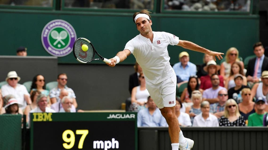 Roger Federer hits a shot during his fourth round match against France's Adrian Mannarino. (Reuters)