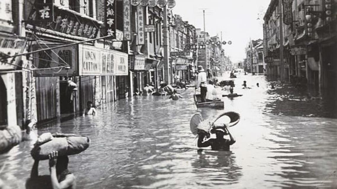 جانب من الفيضان بالمدن الصينية