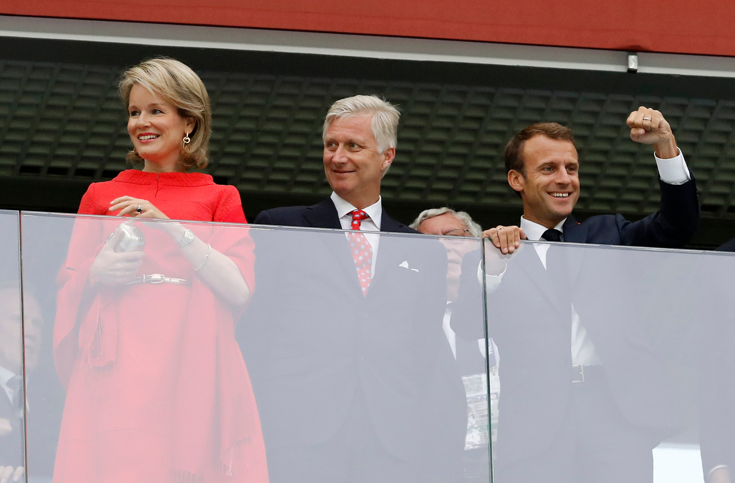 Macron Belgium royals world cup semifinals. (AP)