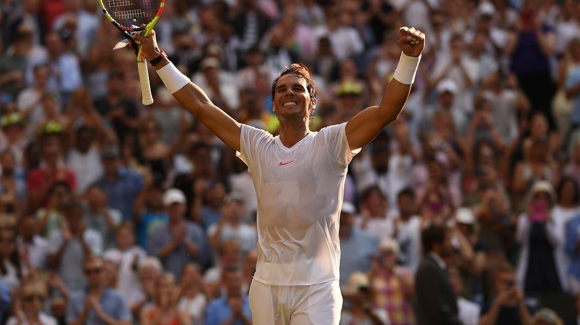 Rafael Nadal celebrates after beating Jiri Vesely at Wimbledon on July 9, 2018. (AFP)
