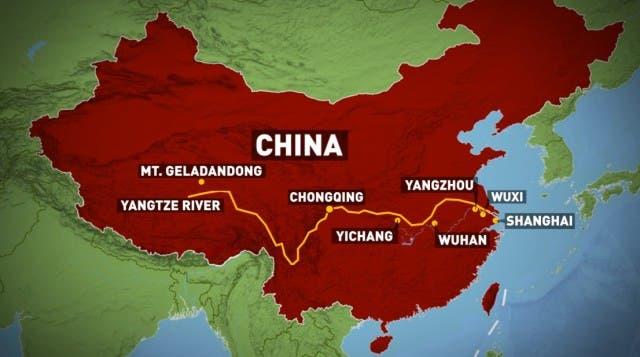 خريطة لنهر يانغتسي بالصين