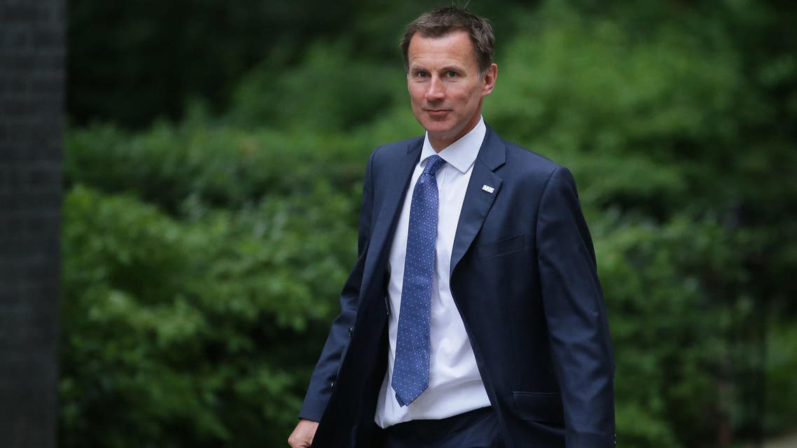 Britain's Health and Social Care Secretary Jeremy Hunt arrives at 10 Downing Street London on June 5, 2018. (AFP)