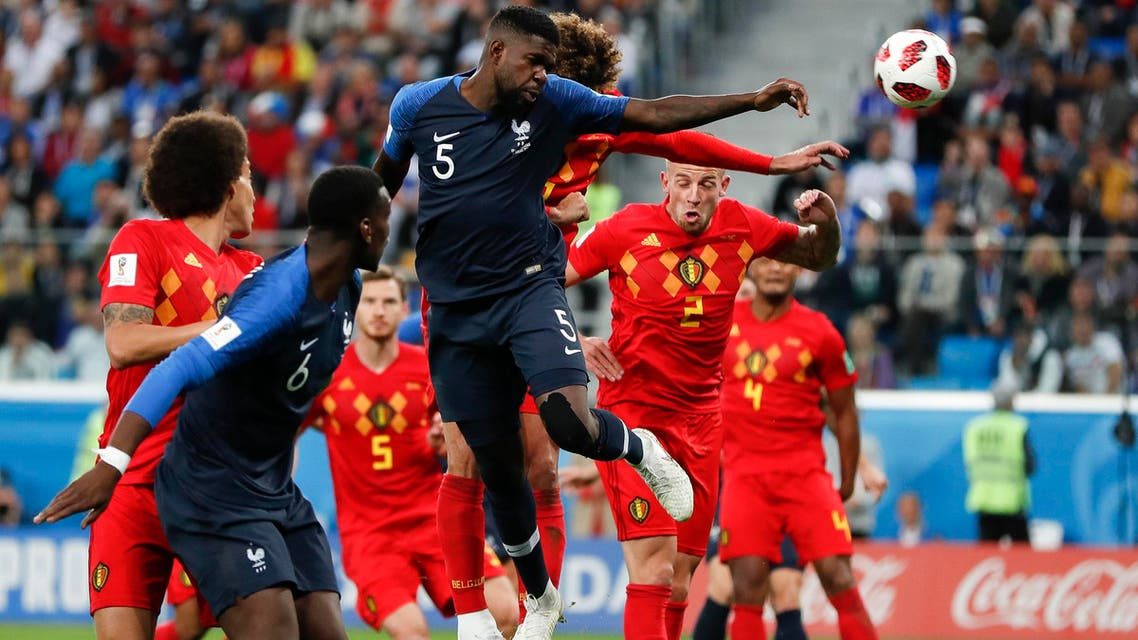 umtiti france vs belgium world cup. (AP)