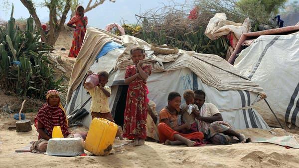أطفال نزحوا عن تعز بعد أن شردهم القصف (أرشيفية)