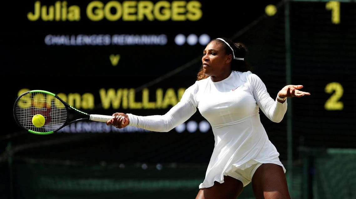Serena Williams of the US in action during her Wimbledon semi-final match against Germany's Julia Goerges. (Reuters)