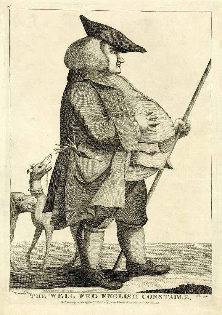 رسم تخيلي لأحد المسؤولين عن الأمن بأنجلترا خلال القرن الثامن عشر