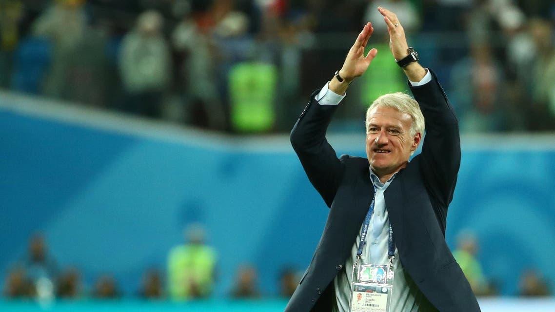 Didier Deschamps greets fans as he celebrates semi-final victory on July 10, 2018. (Reuters)