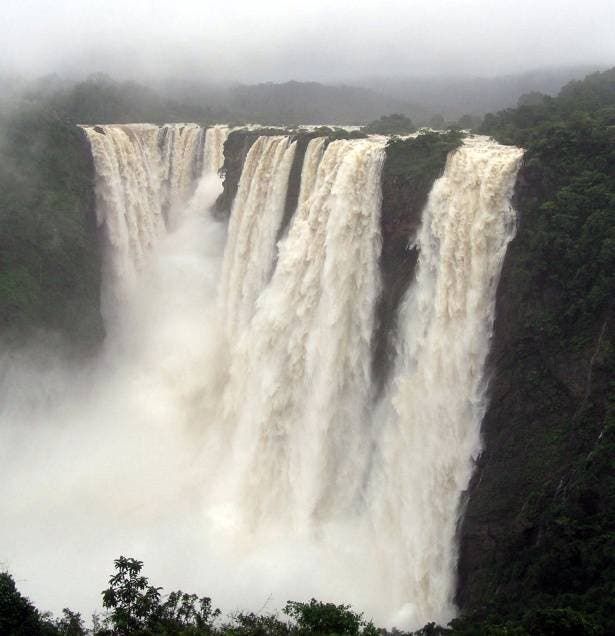 The fall is located amid lush green vegetation of Western Ghats in Shivamogga district of Karnataka. (Supplied)