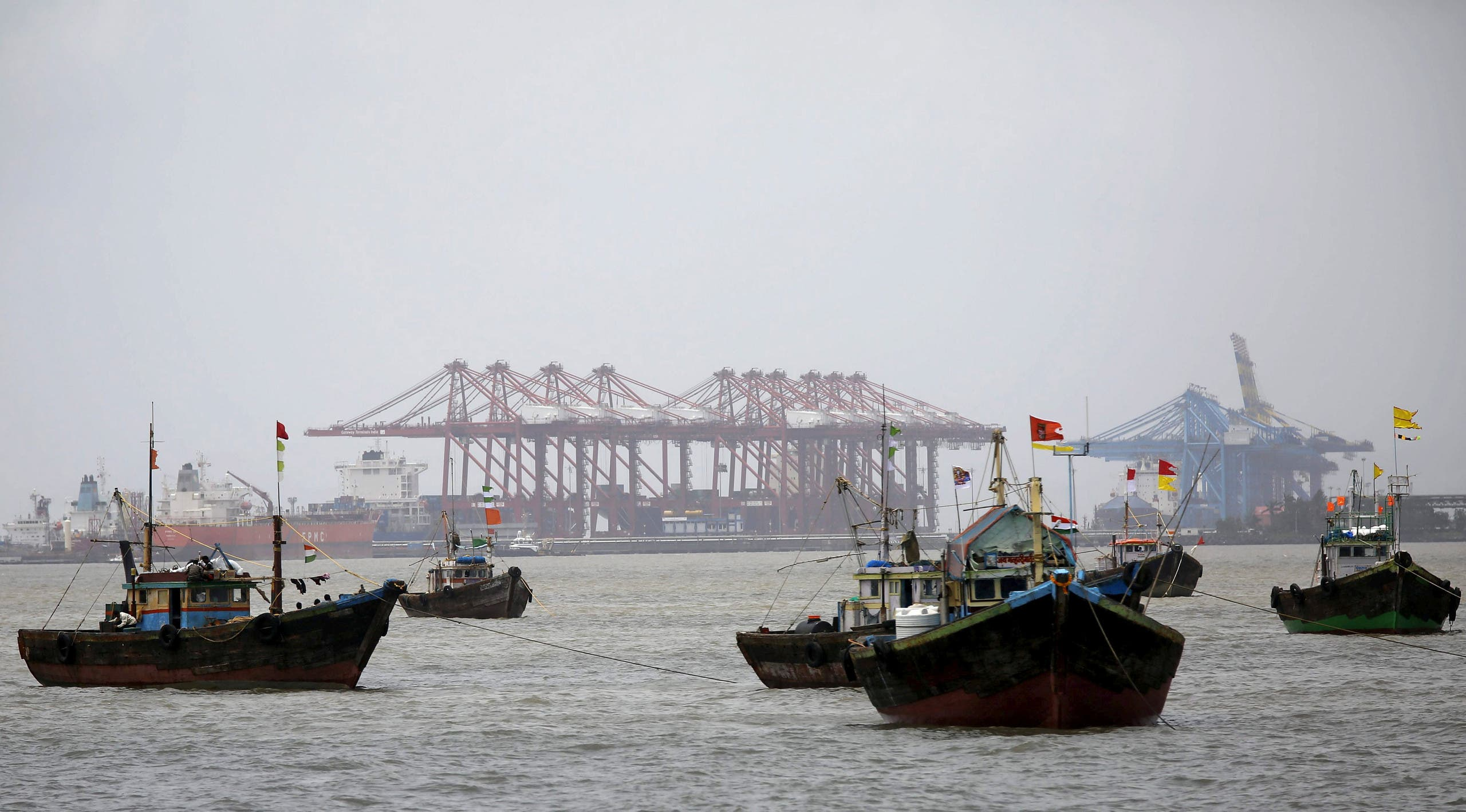 Fishing trawlers in front of the Jawaharlal Nehru Port Trust (JNPT) in Mumbai on July 31, 2015. (Reuters)