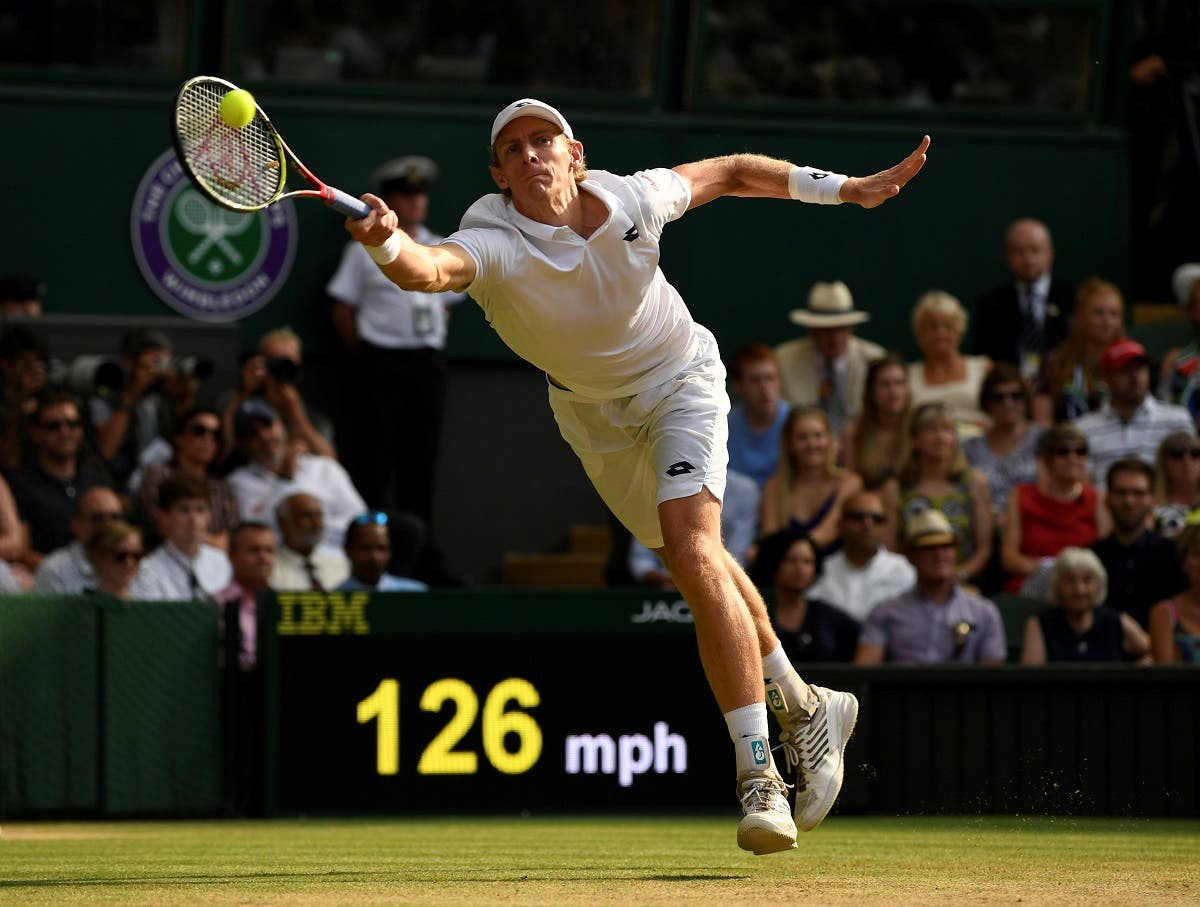 South Africa's Kevin Anderson in action during his semi-final match against John Isner of the US (Reuters)