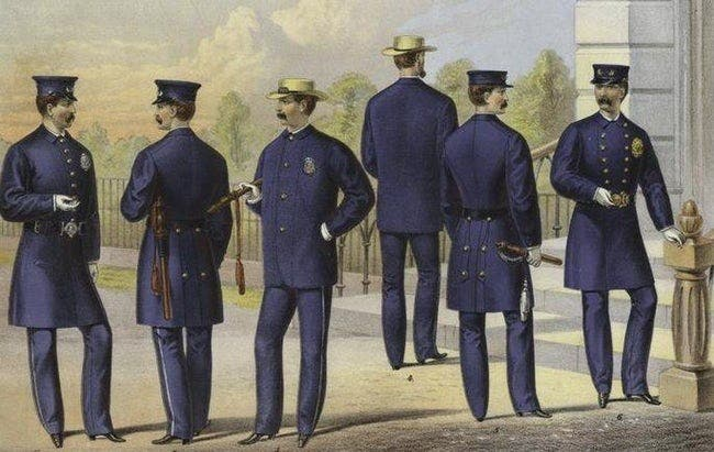 رسم تخيلي لعدد من أفراد شرطة نيويورك منتصف سبعينيات القرن التاسع عشر
