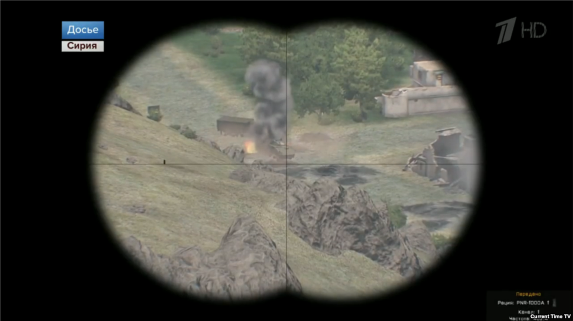 Earlier this year, Russians spotted video-game footage in state TV report on Syria. (Photo courtesy: Channel One/ Game: Arma-3)