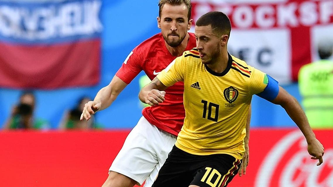 Belgium's forward Eden Hazard (R) vies with England's forward Harry Kane during their Russia 2018 World Cup play-off for third place football match in Saint Petersburg on July 14, 2018.  (AFP)