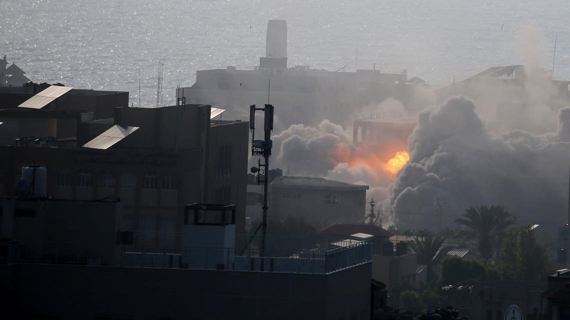 An explosion is seen following an Israeli strike on a building in Gaza City. (Reuters)
