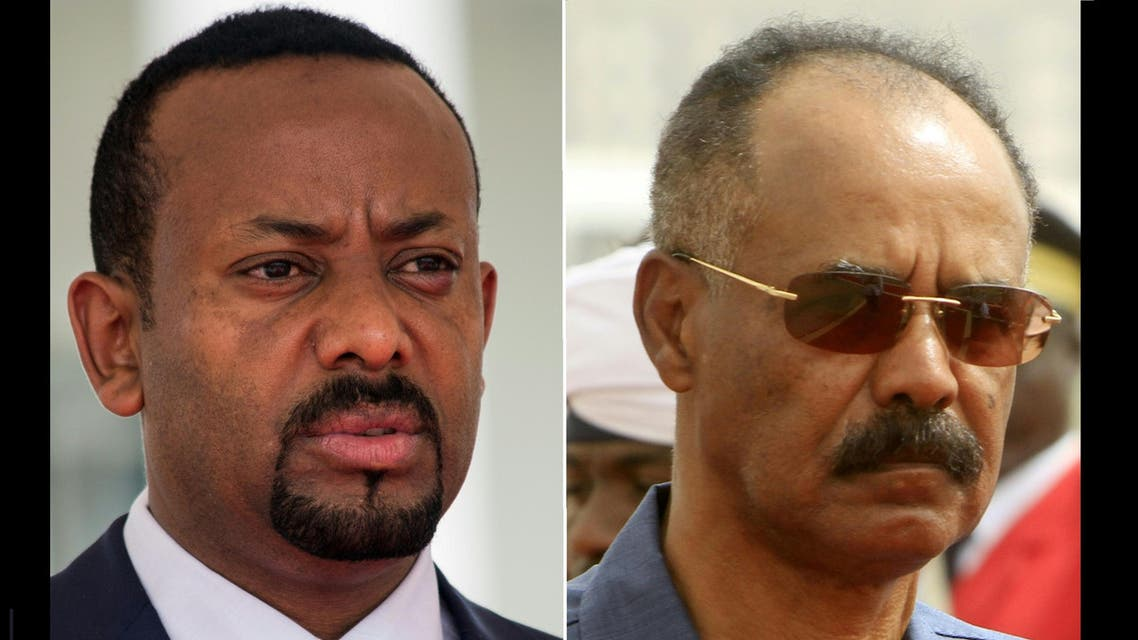 (L) Ethiopia's Prime Minister Abiy Ahmed and (R) Eritrean President Isaias Afwerk. (AFP)