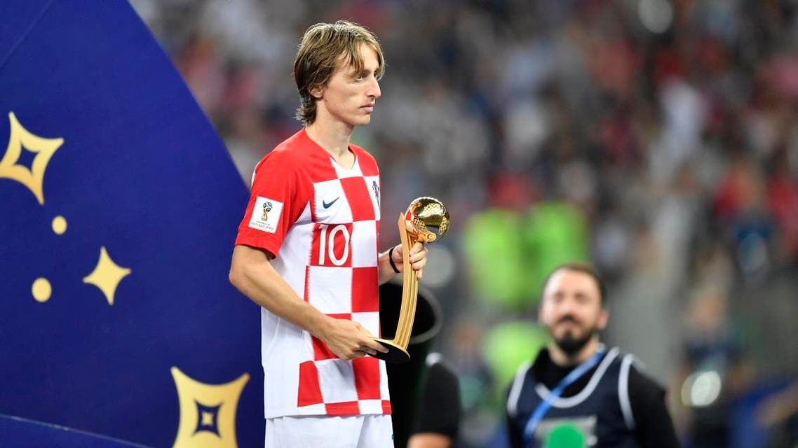 Croatia's Luka Modric holds the golden ball as best player of the tournament. (AP)