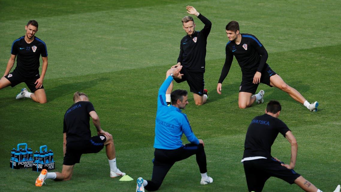 المنتخب الكرواتي أثناء التدريب السبت