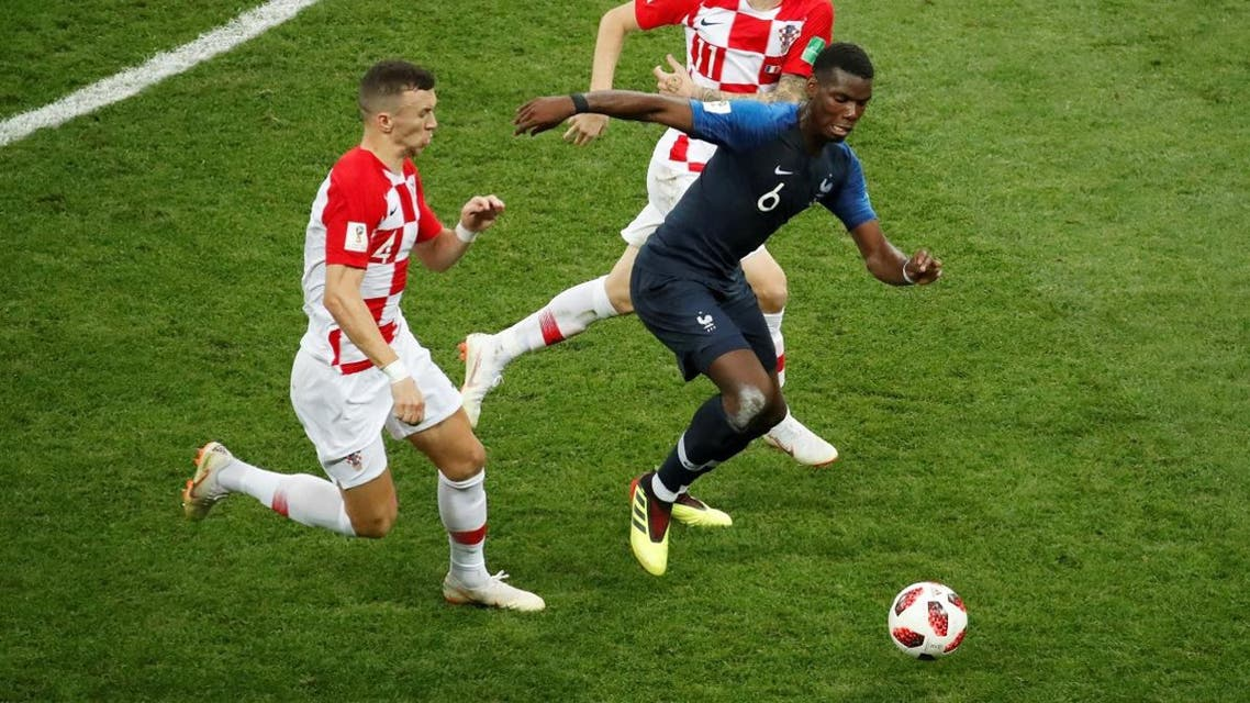 France's Paul Pogba in action with Croatia's Ivan Perisic and Marcelo Brozovic. (Reuters)
