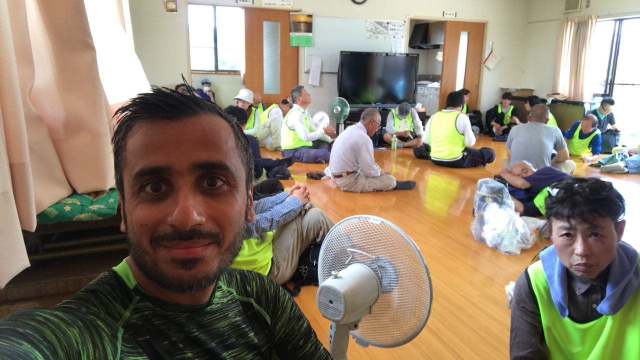 Saudi man helps with hurricane relief in japan. (Supplied)