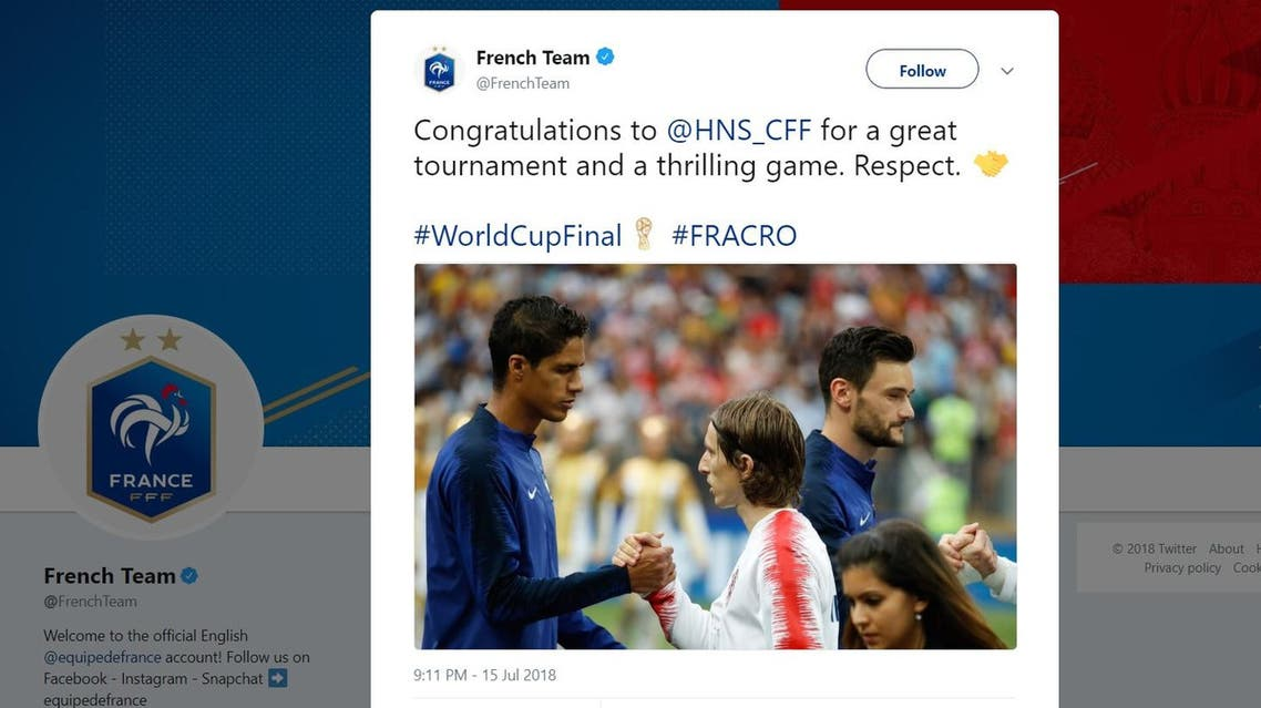 French team tweets their 'respect' for Croatia after thrilling World Cup final